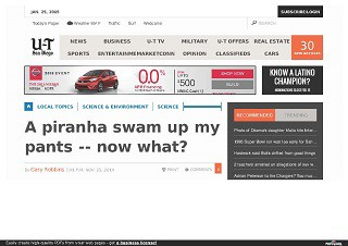 A piranha swam up my pants -- now what?